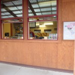 Large double hung windows facilitate serving and greeting the customers with a smile.